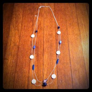 2 tier silver & blue beaded necklace
